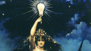"""Der Bildausscdhnitt zeigt die Glühbinre - hochgehalten von der """"Göttin des Lichts"""" Elektra"""